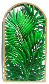 "Palm Tree Tropical Wall Decor - Hand Painted Metal - Framed in Wrought Iron - 20"" x 36"""