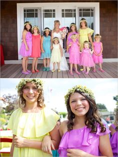 colorful flower girls and bridesmaids #rainbowwedding #bridesmaids #weddingchicks http://www.weddingchicks.com/2014/02/04/country-fair-wedding/