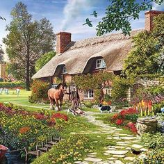 Solve Walking the Horse jigsaw puzzle online with 64 pieces Farm Paintings, Scenery Paintings, Amazing Paintings, Indian Paintings, Landscape Paintings, Cartoon House, Cottage Art, Country Scenes, Pictures To Paint