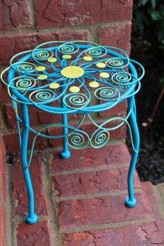 Clearance/ Plant Stand /aqua /distressed /rustic Upcycled /painted /upcycled…
