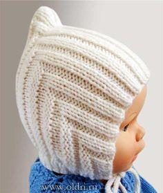 вязаная шапочка спицами для новорожденного Patern детское