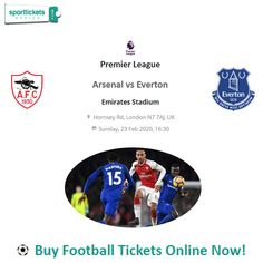 Premier League Arsenal vs Everton!! Tickets Online, Get Tickets, Arsenal Vs Everton, Thanks For Your Service, Football Ticket, Looking Forward To Seeing, Premier League, Really Cool Stuff, Writing