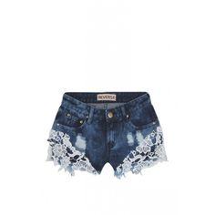 Reverse Denim Crochet Shorts ($88) ❤ liked on Polyvore featuring shorts, bottoms, denim short shorts, frayed denim shorts, frayed shorts, crochet denim shorts и denim mini shorts