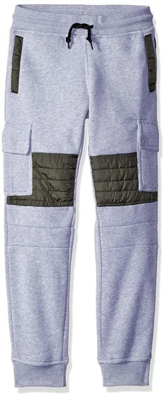 Southpole Boys' Big Boys' Jogger Fleece Cargo Pants with Quilted Nylon Utility Details on Knees, Heather Grey, Small. Quilted details. Waterproof reverse zipper. Waist cord. Moto biker details.
