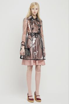 Red Valentino Pre-Fall 2015. The perfect outfit to wear with a @jumpfrompaper bag. #raincoat #clear #outline