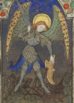 Bibliothèque nationale de France, Département des manuscrits, Latin 1156B, detail of f. 165r (St Michael and the devil). Book of Hours, use of Rome (15th century)