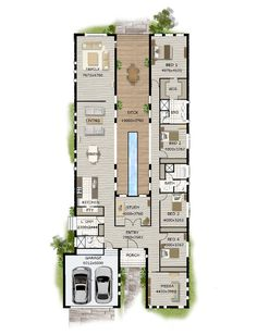 Simple Four Bedroom House Plans Contemporary House Designs And Floor Plans Contemporary Home Designs Modern Narrow Block House Designs Floor Plan Four Bedrooms Simple Design Contemporary House Design Layouts Casa, House Layouts, Sims 4 Houses Layout, Home Design Plans, Plan Design, Design Ideas, Modern Home Plans, Contemporary Home Plans, Unique Floor Plans