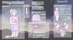 """Look at my gay lil gemsona. I love them. I changed the colors and stuff. Pls ignore my shitty edit. Name: Angel Aura Quartz, prefers Angel. Height: 4' 10"""" Gender: Agender. Alignment: Originally Pin..."""
