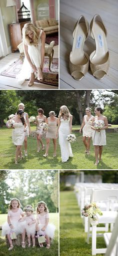 really like the mix of patterns, textures and cuts of bridesmaids' dresses juxtaposed with the similar color palette...