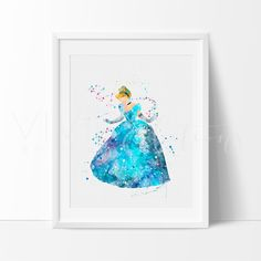 Cinderella Disney Princess Nursery Art Print Wall Decor. Our designs make an attractive, modern contemporary wall piece for your baby nursery, home, office or even as a gift.