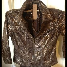 "HP 2/15 NWOT!  ANIMAL PRINT METALLIC JACKET Beautiful Animal Metallic Print by ""Ruby Rd"". 3/4 Sleeves with two front pockets on the bust. label reads size 6 but fits more like a size 4 and up to a 34D bust. 100% Polyester has a velvety feel and it is very light. Ruby RD Jackets & Coats"