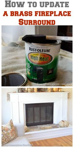 "Just in case. ""How to update a fireplace surround {brass} - Four Generations One Roof. This I can do - so much easier than spray painting it! Updating House, Fireplace Makeover, Home Improvement Projects, Diy Home Improvement, Diy Home Decor, Home Diy, Fireplace Doors, Fireplace Surrounds, Home Projects"