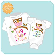 Set of Two Big Cousin Owl Shirt and Little by ThingsVerySpecial, $28.99