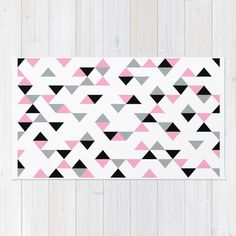 Triangles Black and Pink Area & Throw Rug by Project M | Society6 #triangles #pink #black #grey #white #geometric #projectm