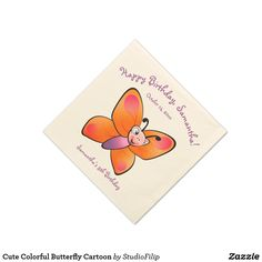 Cute Colorful Butterfly Cartoon Paper Napkin