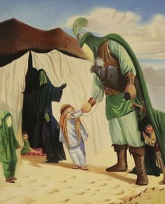 This picture makes me cry. Ya Saqqa e Sakina a. Karbala Iraq, Hussain Karbala, Imam Hussain, Religious Pictures, Islamic Pictures, Alhamdulillah, Karbala Pictures, Battle Of Karbala, Arabian Art