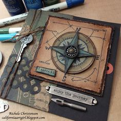 Richele Christensen: Travel Blueprint stamp http://californiaartgirl.blogspot.com/2013/02/enjoy-journey-card.html#