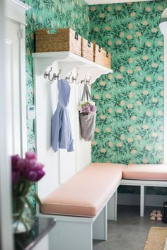 Green Floral wallpaper in mudroom | Bria Hammel's Home Tour | Bria Hammel Interiors | Wallpaper: Peonies (Mint) designed by Rifle Paper Co for Hygge & West