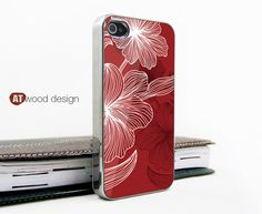 light silvery iphone 4 case iphone 4s case iphone 4 cover beautiful Red classic flower unique Iphone case design. $16.99, via Etsy.