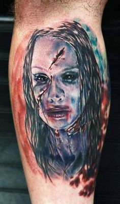 Realism Horror Tattoo by Rich Pineda? Horror Movie Tattoos, Creepy Tattoos, Horror Movies, Horror Icons, Horror Art, Scary Films, Ghost Tattoo, Fall Pictures, Fall Pics