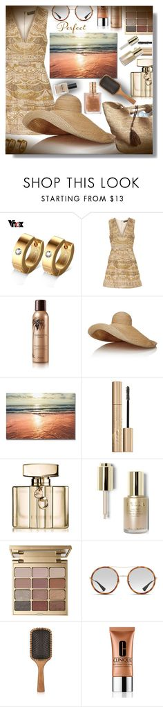 """""""Summer set, summer gold, summer love ........."""" by sarahguo ❤ liked on Polyvore featuring Alice + Olivia, Guerlain, Lola, Stila, Gucci, Aveda, Clinique and Lauren B. Beauty"""