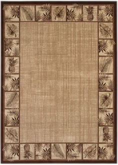 Area Rug Ohana Paradise Hawaii Ranch Tropical Leaf Pinele Border Com Decorative Palm Tree Double