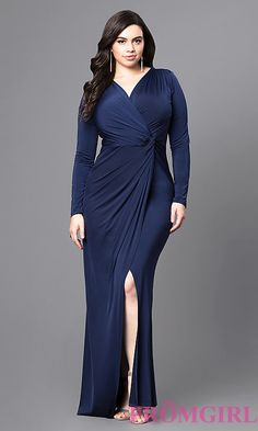 Jersey Plus-Size Prom Dress with Long Sleeves