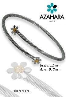 Pulsera de acero y oro de Azahara Joya. Acero quirúrgico libre de alergias y oro amarillo. Pulsera de aro abierta con cuerpo en espiral y dos motivos de flores de margarita en los extremos.