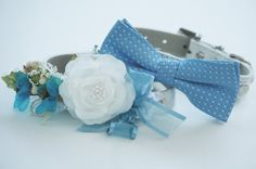 Blue Dog Collars - Bridesmaid & Best Man - Two Chic Wedding Dog Collars, Blue Bow tie, High Quality, Some thing blue