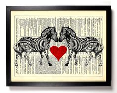 Zebra+Love+Animal+Repurposed+Book+Upcycled+by+StayGoldMedia,+$6.99