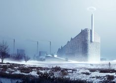 """""""Amager Bakke Waste-to-Energy Plant"""": The replacement for one of Copenhagen's power plants comes in the form of a 31,000 square meter ski slope, allowing the building to double as a tourist attraction. A chimney extending up from the top of the plant will blow a smoke ring for each ton of carbon dioxide released from the waste incinerator used to power the plant. The rings are intended to remind the Danes of their carbon footprint.   Design: BIG (2013)"""