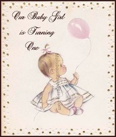 Image detail for -Baby Girl Birthday with Balloon by MaluBoutiques on Etsy Girls Birthday Party Themes, Baby Girl 1st Birthday, Baby Birthday, First Birthday Parties, First Birthdays, Birthday Ideas, Cumple Peppa Pig, Vintage Birthday, Birthday Pictures