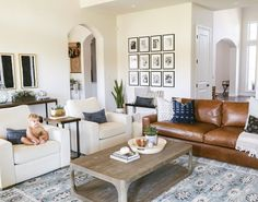 Living room decor, interior design, traditional, modern, boho, camel leather couch, restoration hardware furniture, gallery wall, Kaila walls