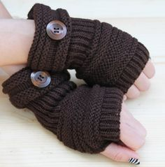 Knitted Arm Warmers BROWN/COFFEE Winter Knit Arm Warmers Fingerless Gloves Hand Warmers