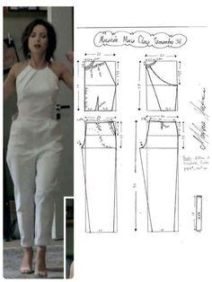 DIY - molde, corte e costura - Marlene Mukai Sewing Dress, Sewing Pants, Dress Sewing Patterns, Sewing Patterns Free, Sewing Clothes, Clothing Patterns, Jumpsuit Pattern, Pants Pattern, Fashion Sewing