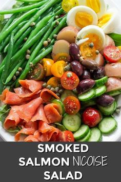 Mar 2019 - Smoked Salmon Nicoise Salad combines all goodness of summer fresh produce. It's beautiful, delicious and will make a super delicious dinner recipe. Salat Nicoise, Salmon Nicoise Salad, Smoked Salmon Salad, Salmon Salad Recipes, Smoked Salmon Recipes, Summer Salad Recipes, Easy Salad Recipes, Healthy Recipes, Salade Nicoise Recipe