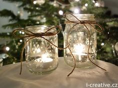 Christmas lanterns - simple & pretty jars, painted with permanent varnish marker & tied with twine - from i-creative. Christmas Jam, Christmas Lanterns, Christmas Crafts, Christmas Decorations, Bottles And Jars, Glass Bottles, Jam Jar, Tea Lights, Diy And Crafts