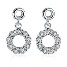Romantic Silver Plated Round White Cubic Zirconia Stud Earrings for Women SPSE220