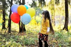 little girl holding a red balloon in a forest - Google Search