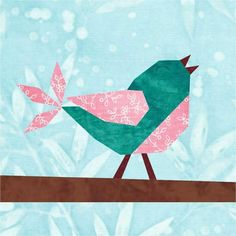 (7) Name: 'Quilting : Songbird Paper Pieced Block Pattern