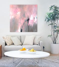 This is a large original abstract painting in pink, grey, white and black by Sarina Diakos titled Largo  Measurements: 90 x 90 cm (36 x 36) depth
