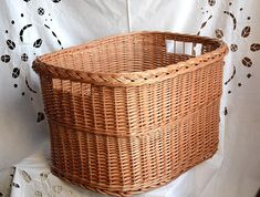 Handwoven basket from quality willow, with 2 handles, convenient as storage basket, laundry basket, log basket....  Sample basket in the pictures is in natural willow color/undyed.  DIMENSIONS: 55 x 42 x 32 cm / 21.5 x 16.5 x 12.5 inches  ------------------------------------------