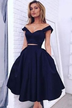 Chic Off The Shoulder Navy Blue Homecoming Dresses Short Prom Dresses
