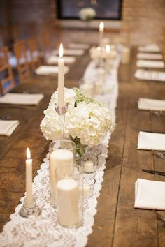 22 Pretty Lace Wedding Ideas - White candles, hydrangea and lace table runner centerpiece. #lacerunner #centerpiece