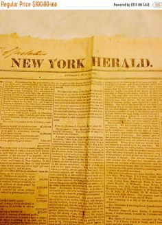 On Sale Antique 199 year old news paper The New York by RareBooks