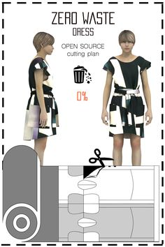 [ FR ] Patronnage zéro déchet conçu pour fabriquer des robes. Le placement est disponible gratuitement (sous licence creative commons) dans différents formats tels que: jpeg, pdf, svg, & dxf.. [ EN ] This is a Zero waste pattern designed to make dresses. Cutting plan is available for free (under the creative commons licence) in differents formats such as jpeg, pdf, svg, & dxf..