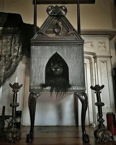 kitty palace diy dollhouse into gothic church/Victorian cat house Gothic Furniture, Cat Furniture, Furniture Ideas, Luxury Furniture, Modern Furniture, Gatos Cool, Cat House Diy, Kitty House, Kitty Condo