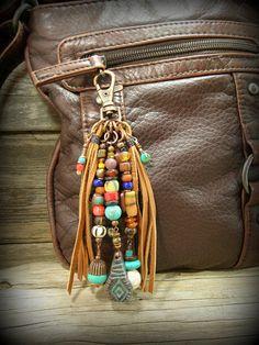 Tribal Purse Charm, Purse Tassel, Southwest Tassel Clip, Purse Clip,  by StoneWearDesigns