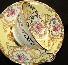 Royal Chelsea Most Exquisite Gold Yellow Ornate Tea cup and saucer.