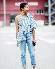 A camisa desconstruída fica ainda mais cool no look de @tamumcpherson com jeans larguinho e um máxi brinco poderoso. Que tal? #LOFFama  via L'OFFICIEL BRASIL MAGAZINE INSTAGRAM - Fashion Campaigns  Haute Couture  Advertising  Editorial Photography  Magazine Cover Designs  Supermodels  Runway Models